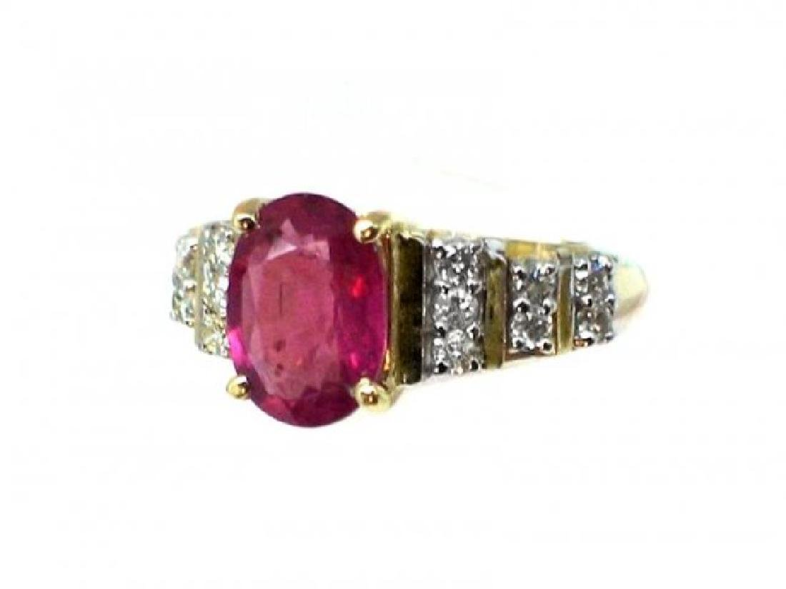 Ruby 1.67CT, Diamond: .52CT Ring 14k Yellow Gold