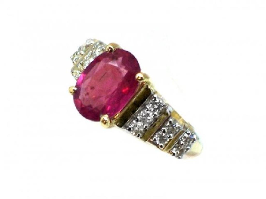 Ruby 1.67CT, Diamond: .52CT Ring 14k Yellow Gold - 2