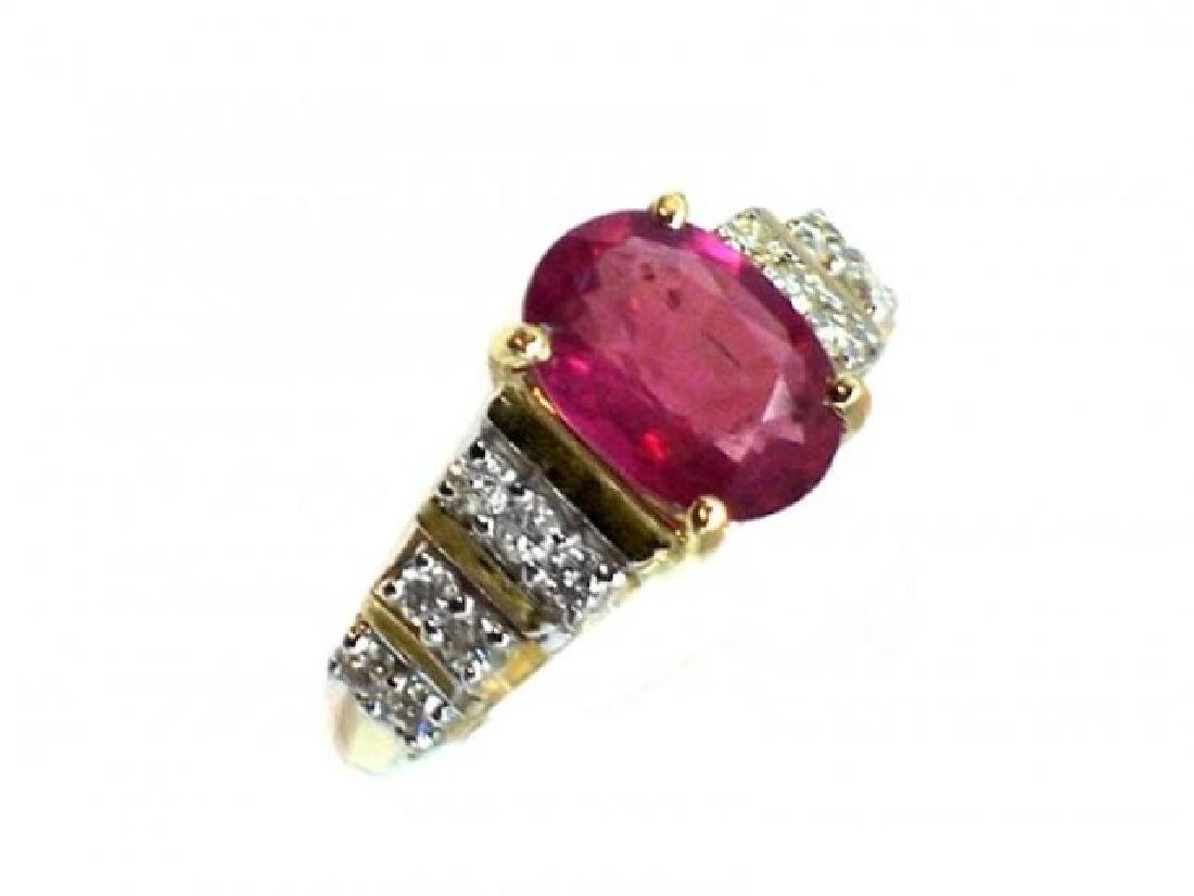 Ruby 1.67CT, Diamond: .52CT Ring 14k Yellow Gold - 3