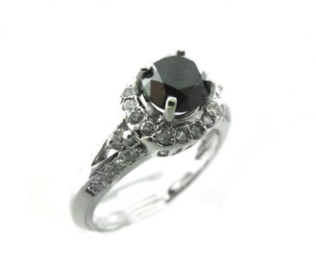 Black/White Diamond Ring 2.18Ct 14K White Gold - 2