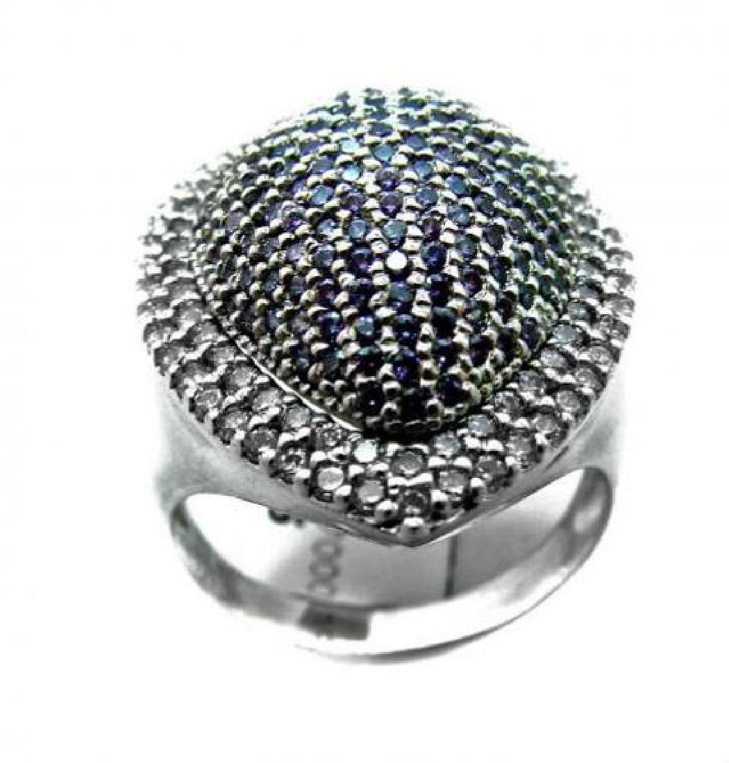 Amethyst Ring/Creations Dia 3.10 Carat 18k W/G Overlay