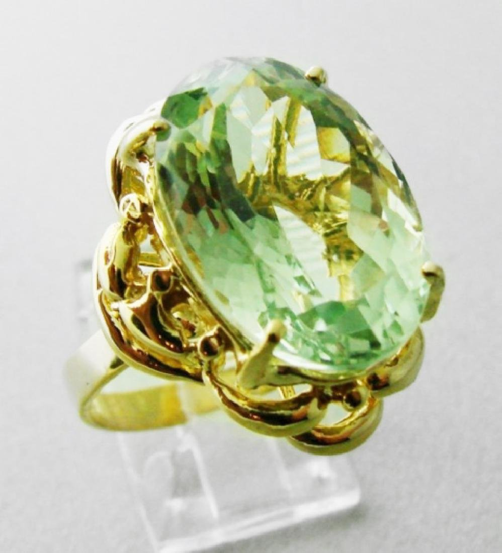 Green Amethyst Ring 10.23 Cara 14k Y/g - 2