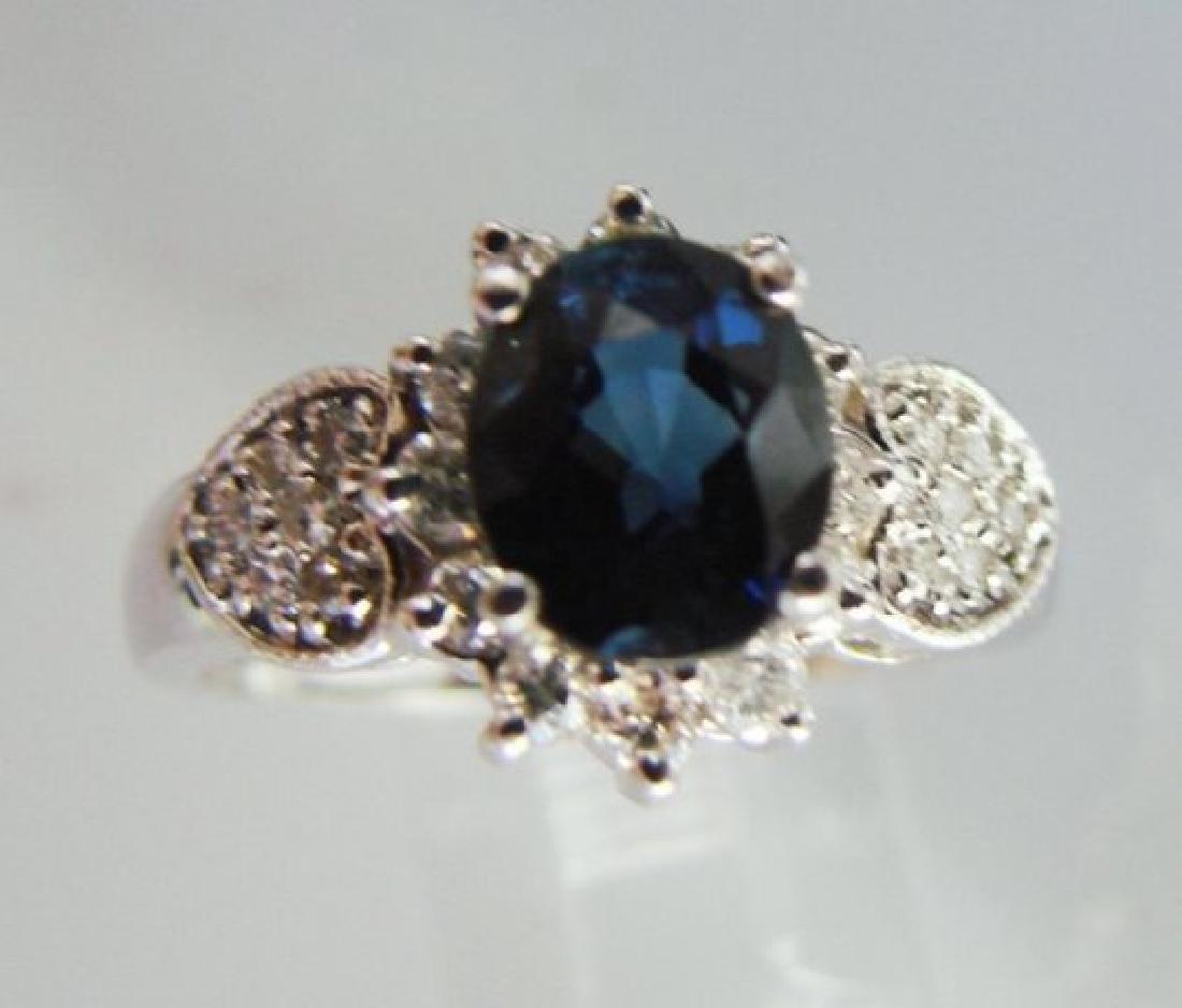 Blue Sapphire: 1.78Ct & Diamond Ring .50Ct 14k W/g