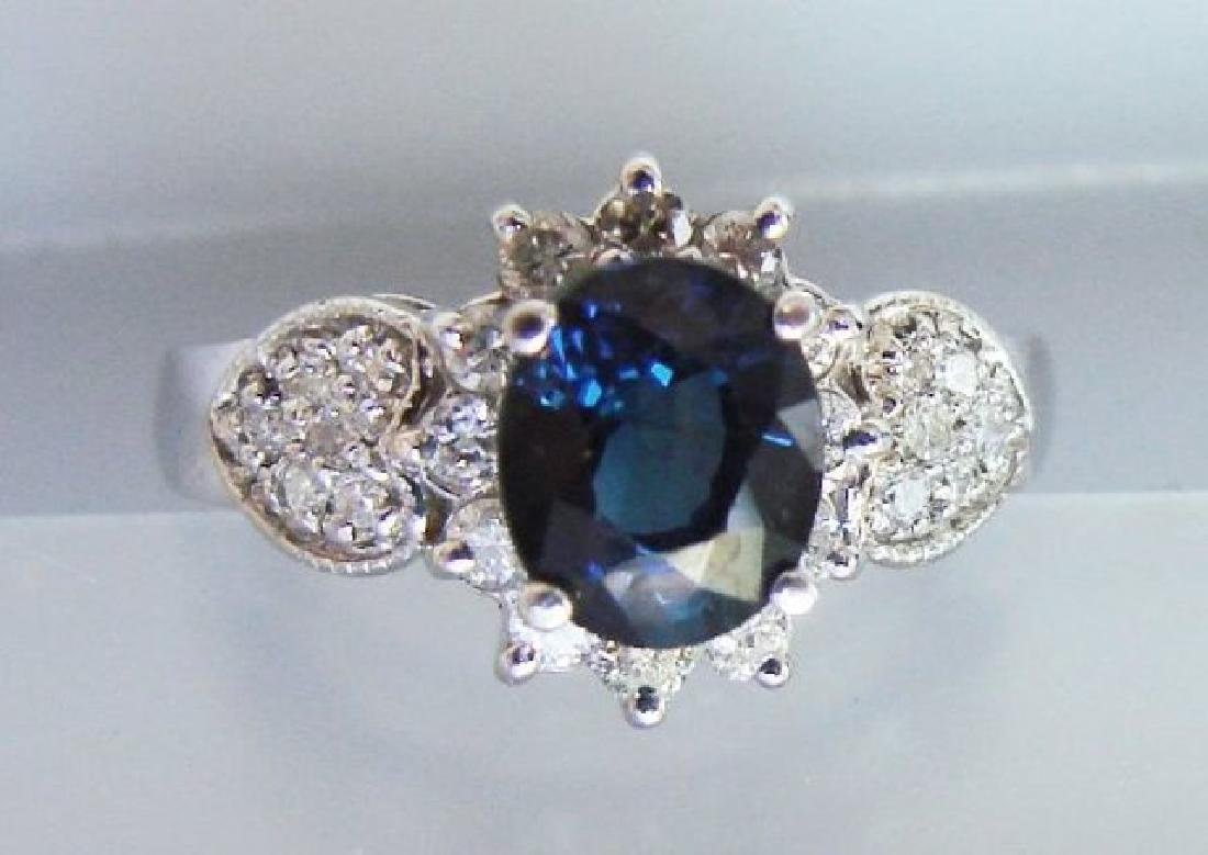 Blue Sapphire: 1.78Ct & Diamond Ring .50Ct 14k W/g - 2