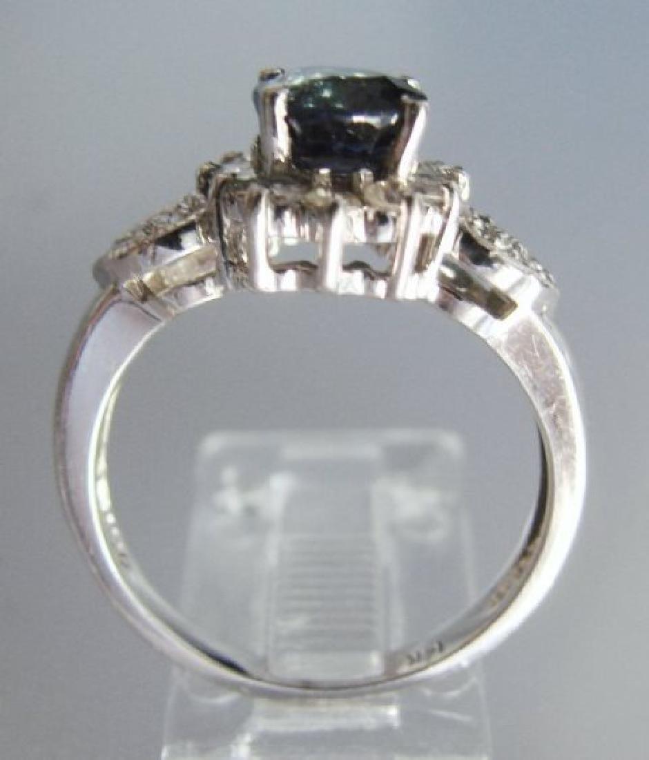 Blue Sapphire: 1.78Ct & Diamond Ring .50Ct 14k W/g - 3