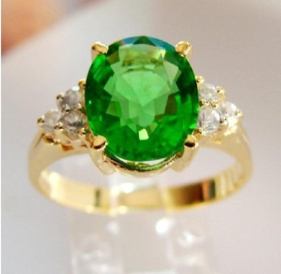 Green Tsavorite Ring: 2.15Ct Diamond: .30Ct 14kY/g