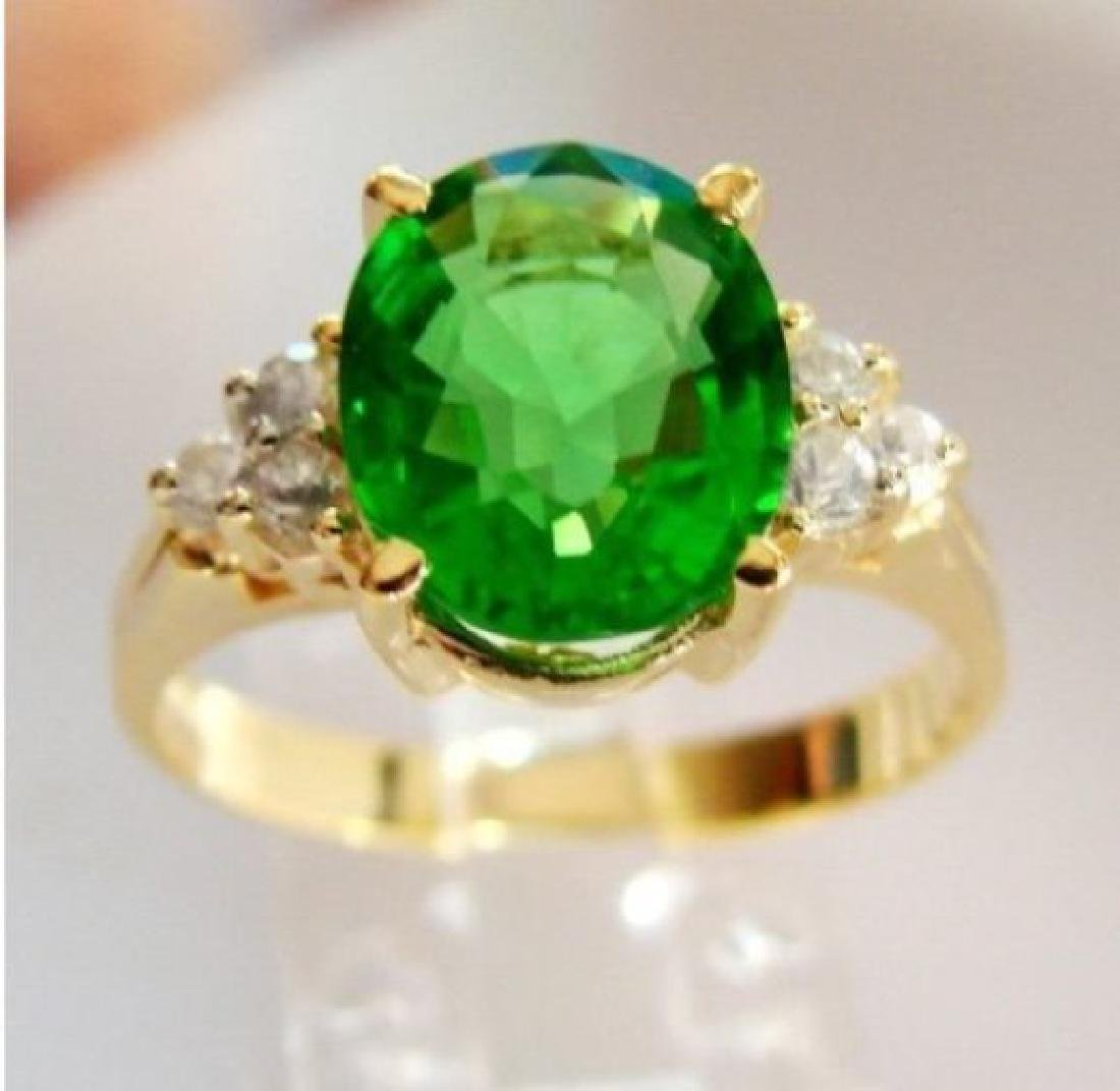 Green Tsavorite Ring: 2.15Ct Diamond: .30Ct 14kY/g - 2