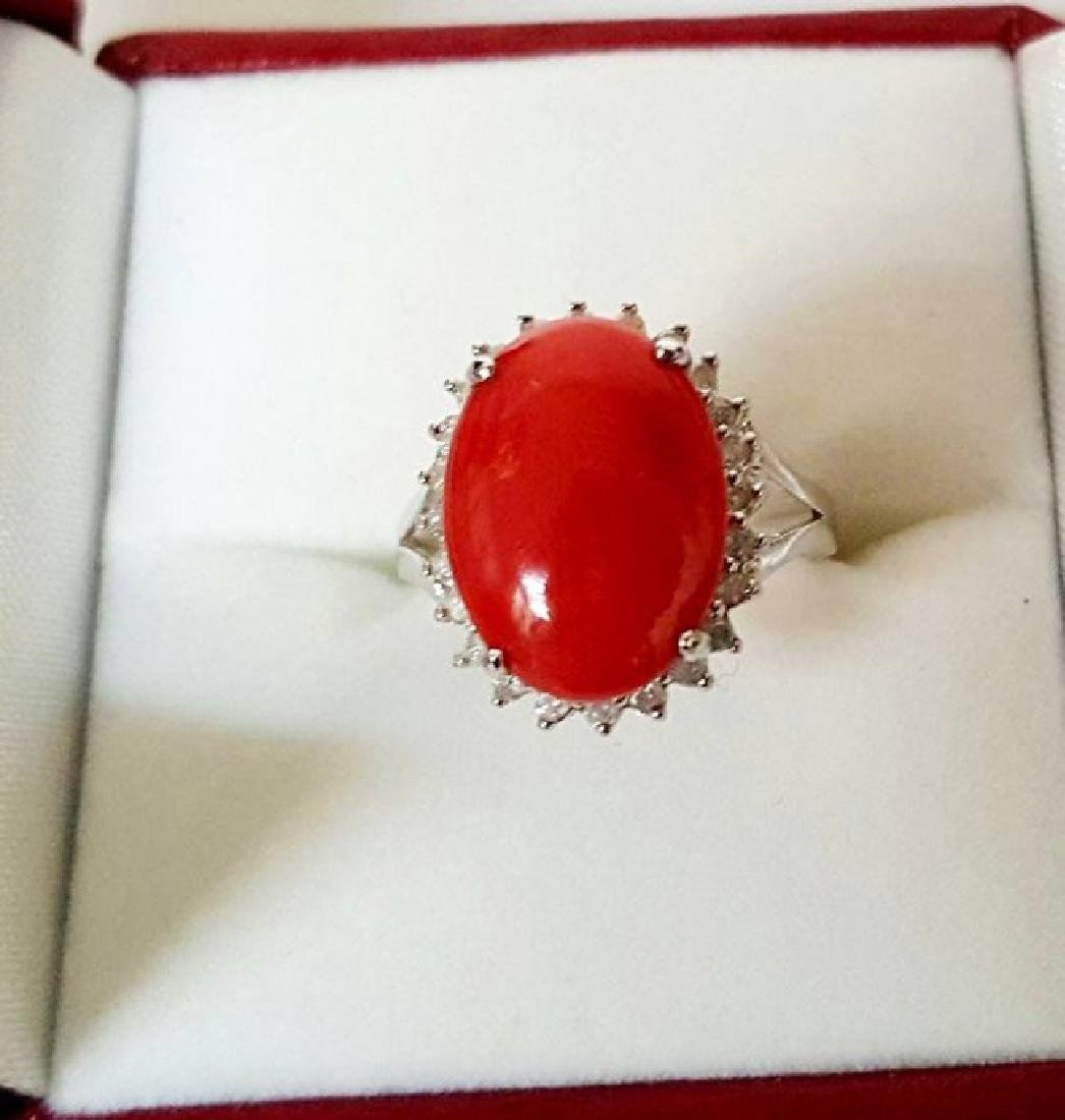 Anniversary Ring Diamond Red Coral 6.46Ct 14k W/g