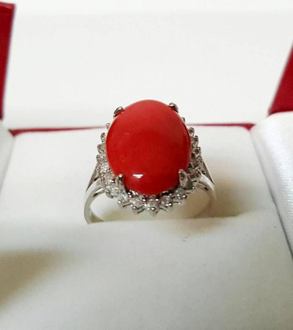 Anniversary Ring Diamond Red Coral 6.46Ct 14k W/g - 2