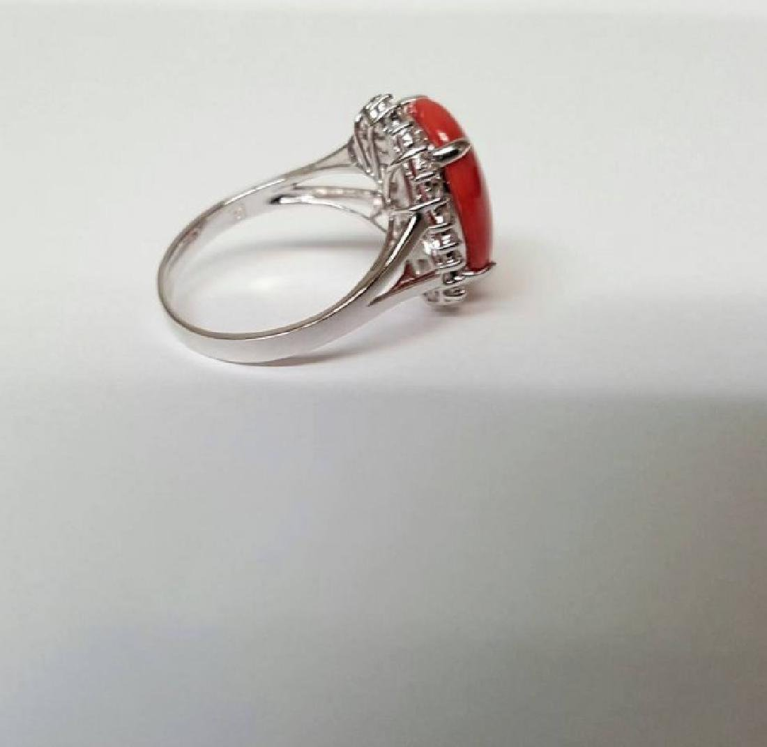 Anniversary Ring Diamond Red Coral 6.46Ct 14k W/g - 3