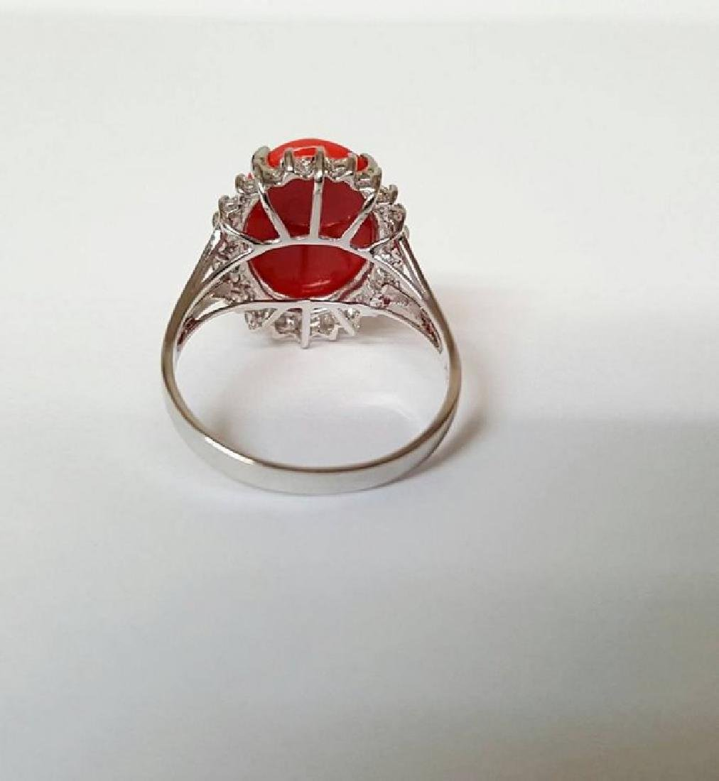 Anniversary Ring Diamond Red Coral 6.46Ct 14k W/g - 4