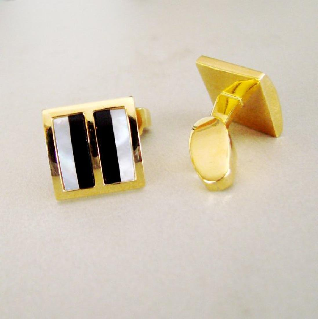 Men Cufflink Stainless Mother Pearl Onyx 18k Y/g Over - 2