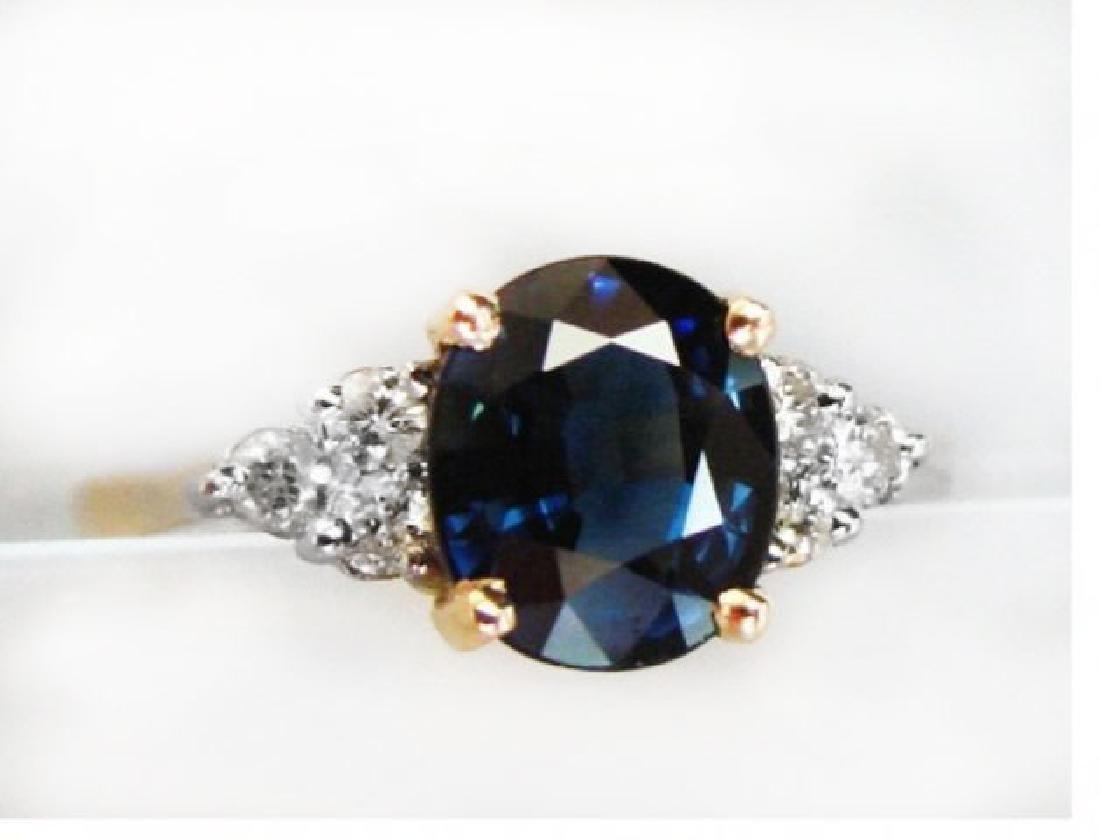 Blue Sapphire Diamond Ring 1.64Ct & Dia: .18Ct 14k Yg