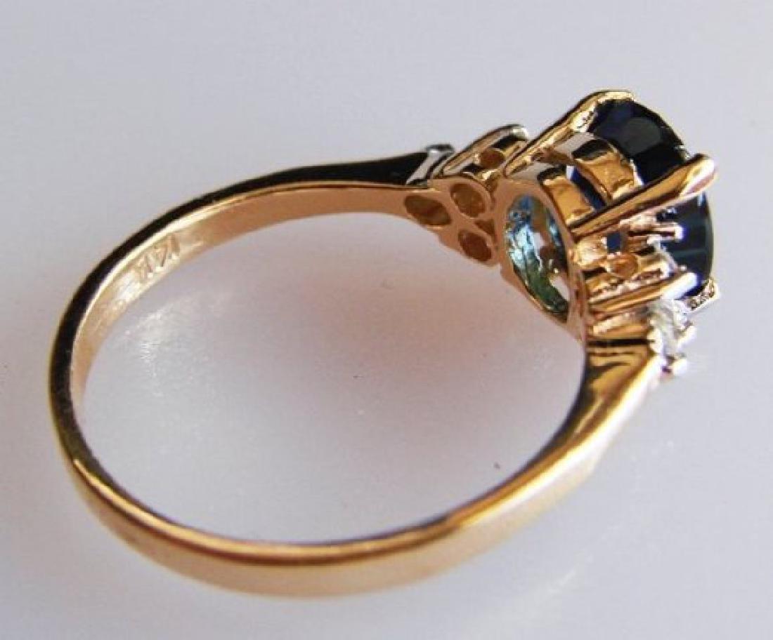 Blue Sapphire Diamond Ring 1.64Ct & Dia: .18Ct 14k Yg - 2
