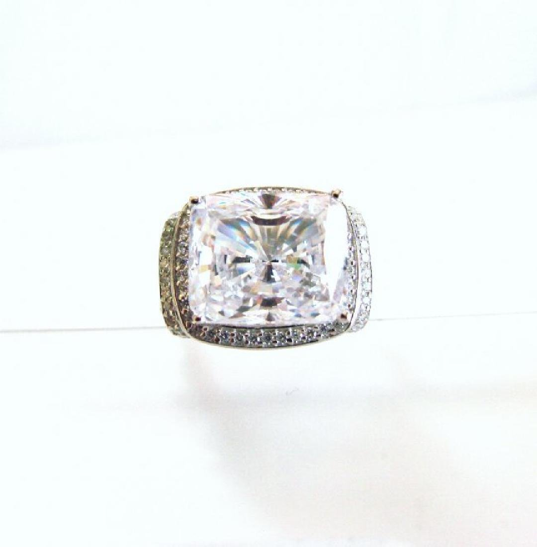 Creation Diamond Ring 12.40Ct 18k W/g Overlay