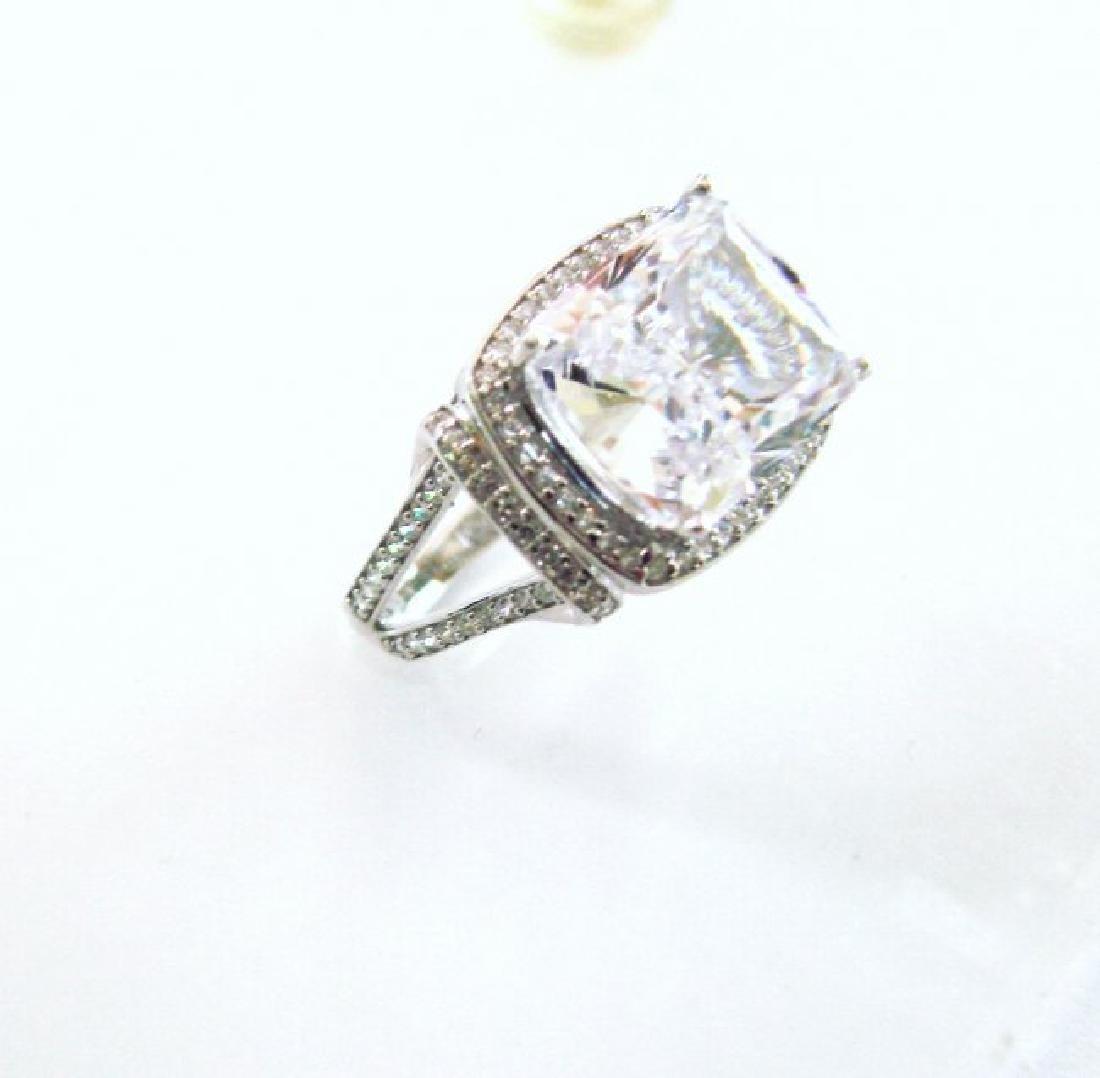 Creation Diamond Ring 12.40Ct 18k W/g Overlay - 2