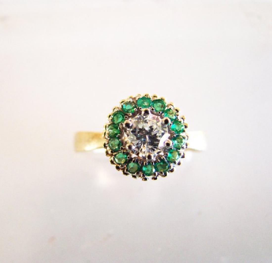 Anniversary Ring Diamond Emerald .77Ct 14k Y/g