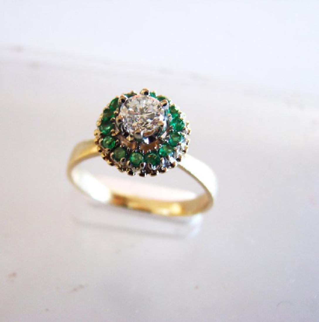 Anniversary Ring Diamond Emerald .77Ct 14k Y/g - 2