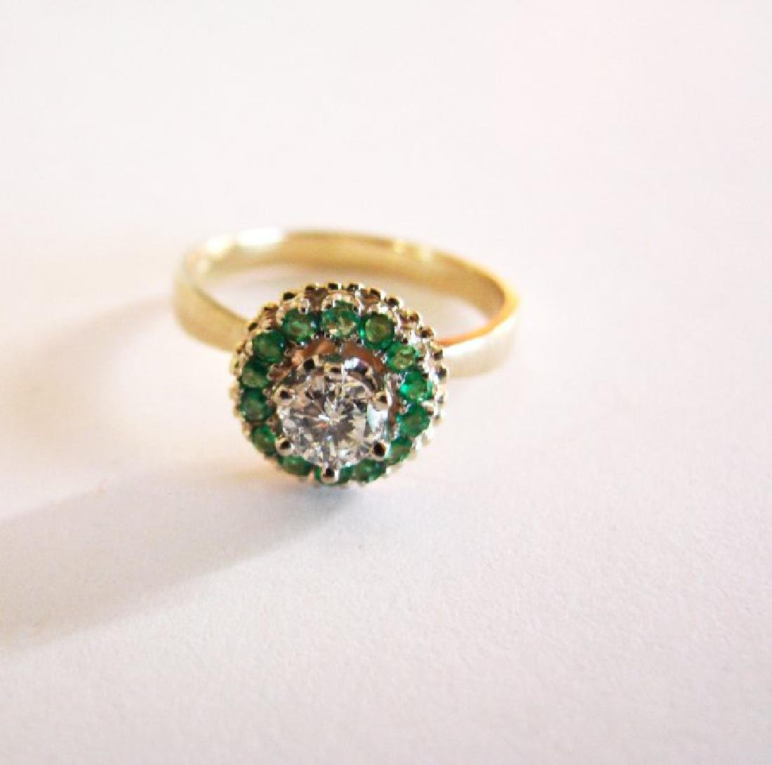 Anniversary Ring Diamond Emerald .77Ct 14k Y/g - 3