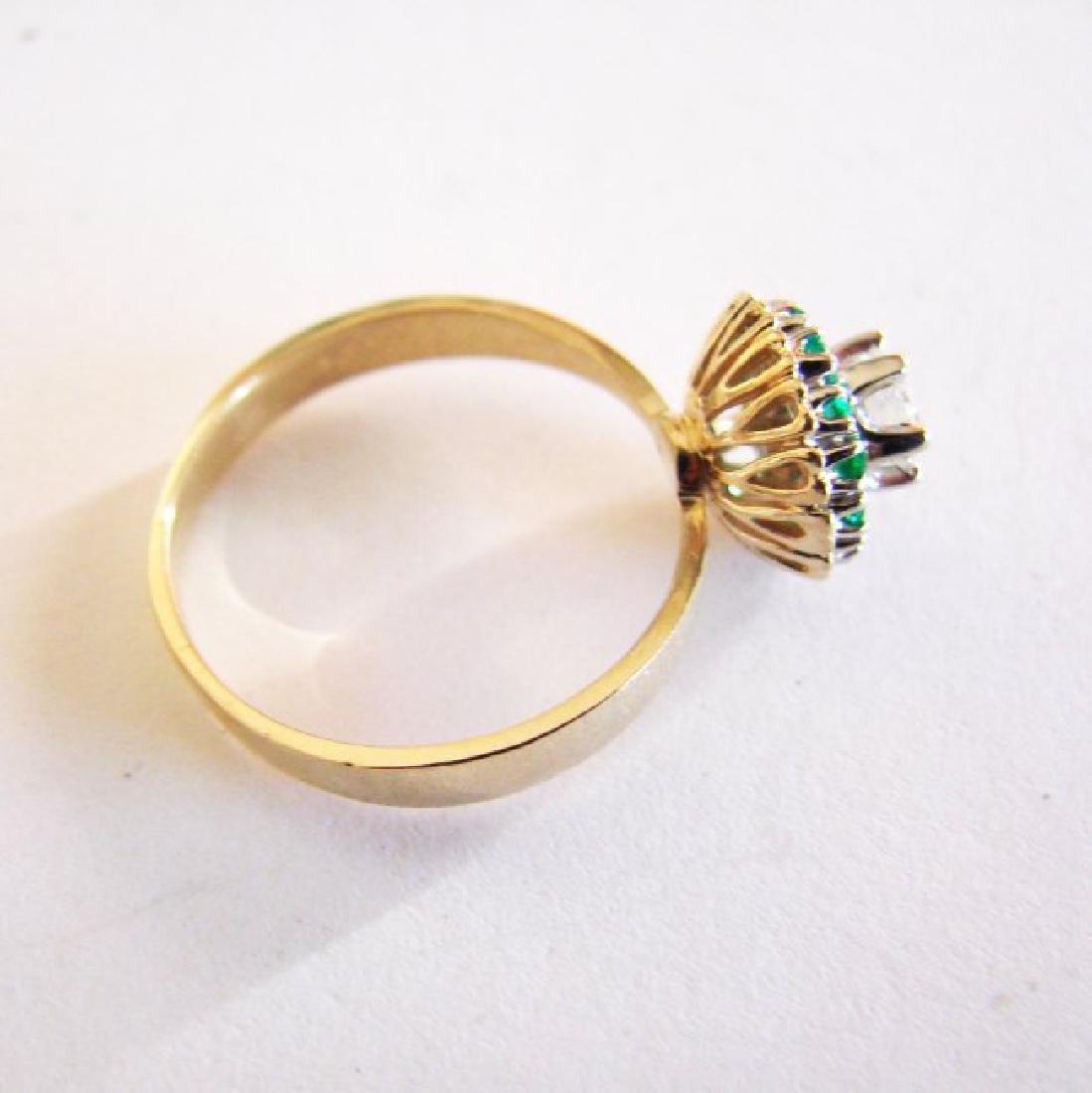 Anniversary Ring Diamond Emerald .77Ct 14k Y/g - 5