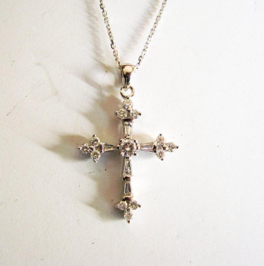 Diamond Cross Pendant: 1.42 Carat 18k W/g