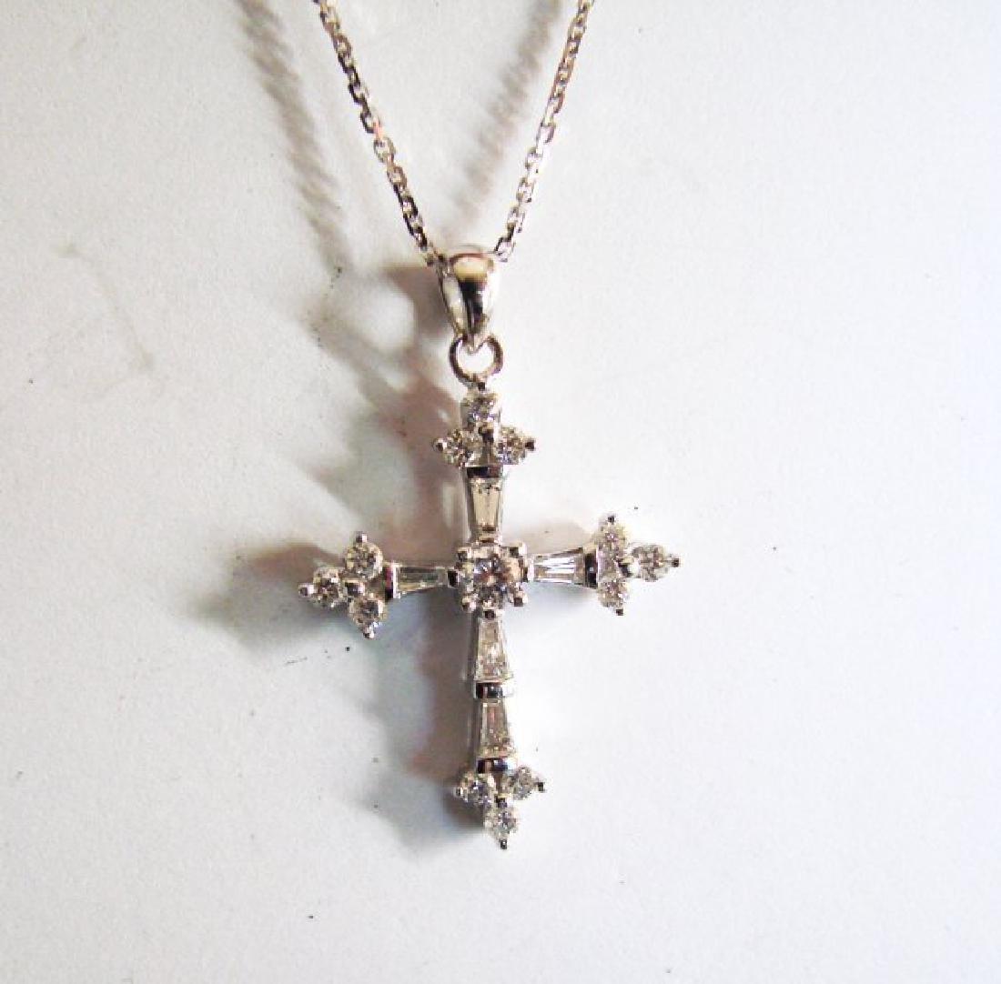 Diamond Cross Pendant: 1.42 Carat 18k W/g - 2