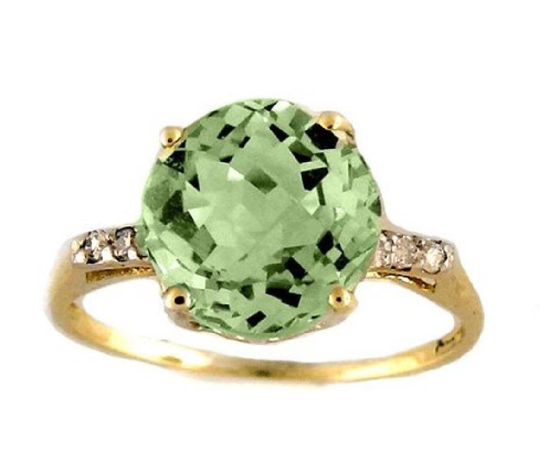 Green Amethyst: 2.10 CT & Diamond: .12 Ct Ring14k Y/G