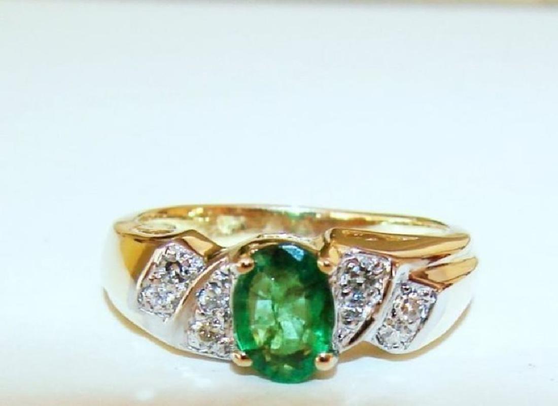 Emerald Ring 1.00Ct & Diamond .25Ct 14k Y/g