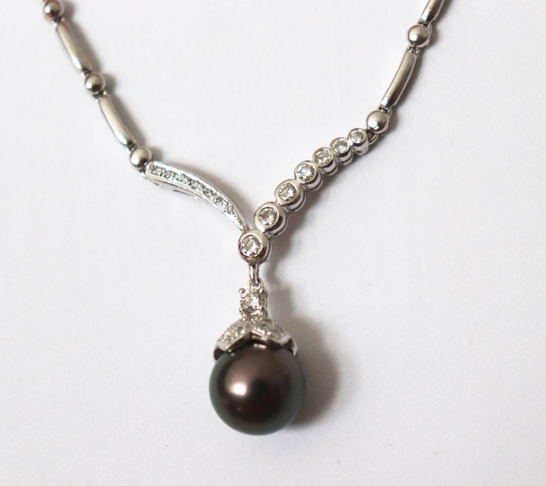 12.3mm Tahitian Pearl Diamond Necklace 1.05Ct 14k W/g - 2