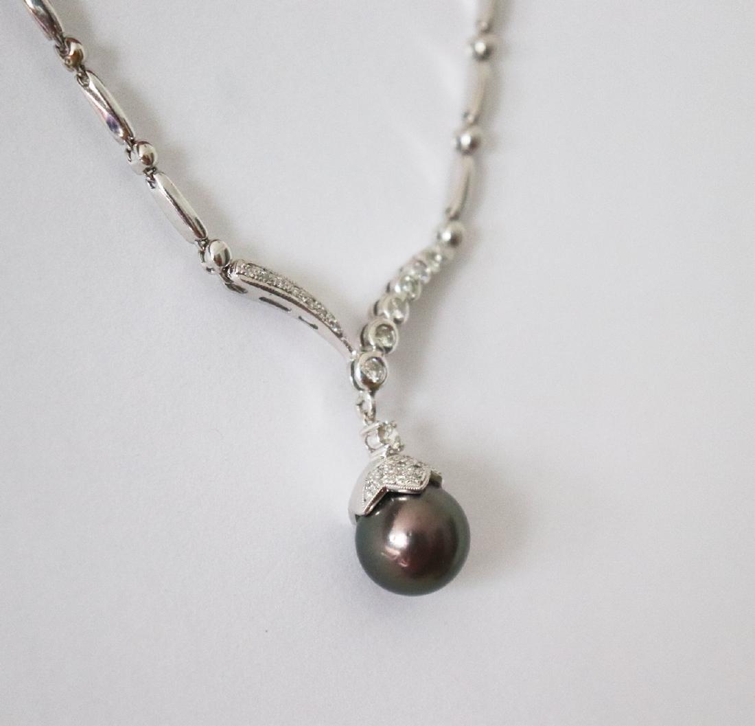 12.3mm Tahitian Pearl Diamond Necklace 1.05Ct 14k W/g - 3