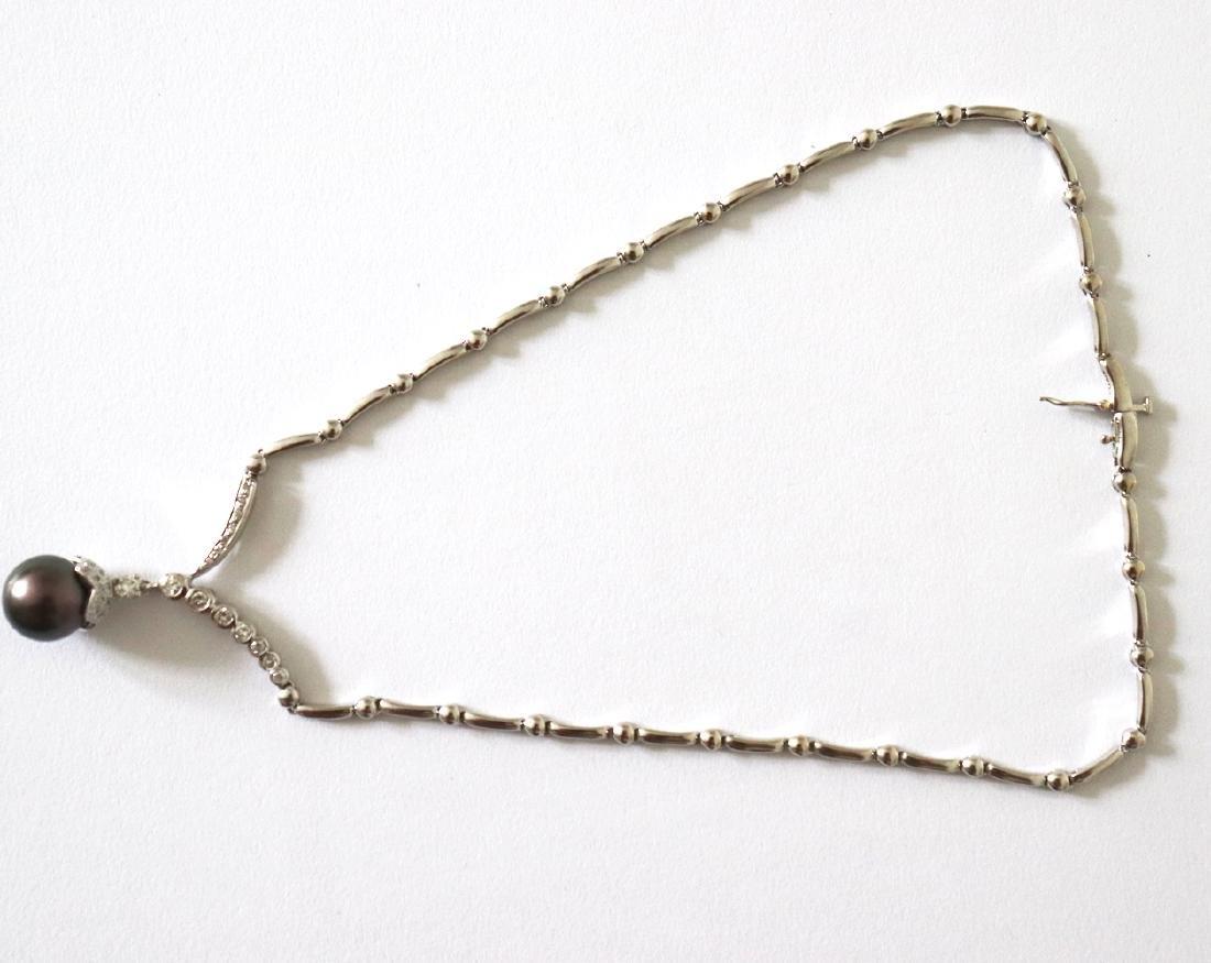 12.3mm Tahitian Pearl Diamond Necklace 1.05Ct 14k W/g - 4