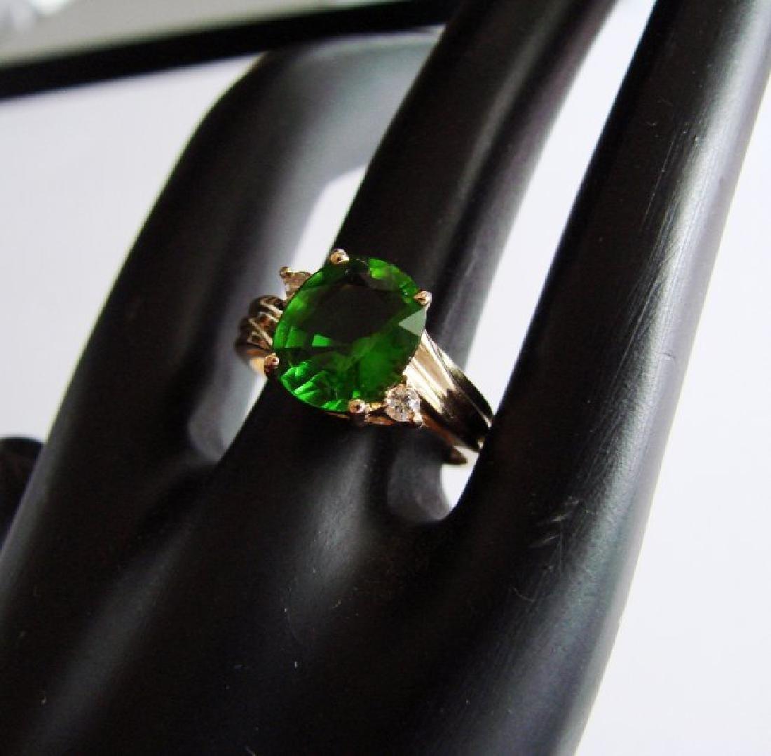 Natural Green Tsavorite Diamond 3.59Ct 14k Y/g - 2
