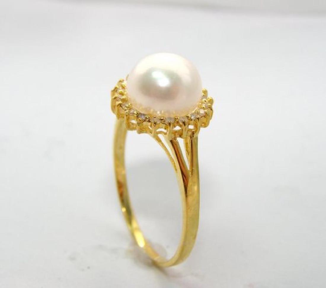 Akoya Pearl: 8mm/diamond: .10Ct  Ring 14kY/G - 2