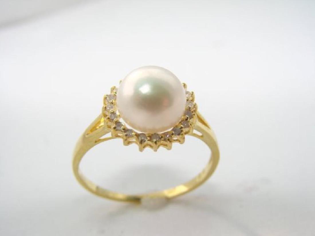 Akoya Pearl: 8mm/diamond: .10Ct  Ring 14kY/G - 3