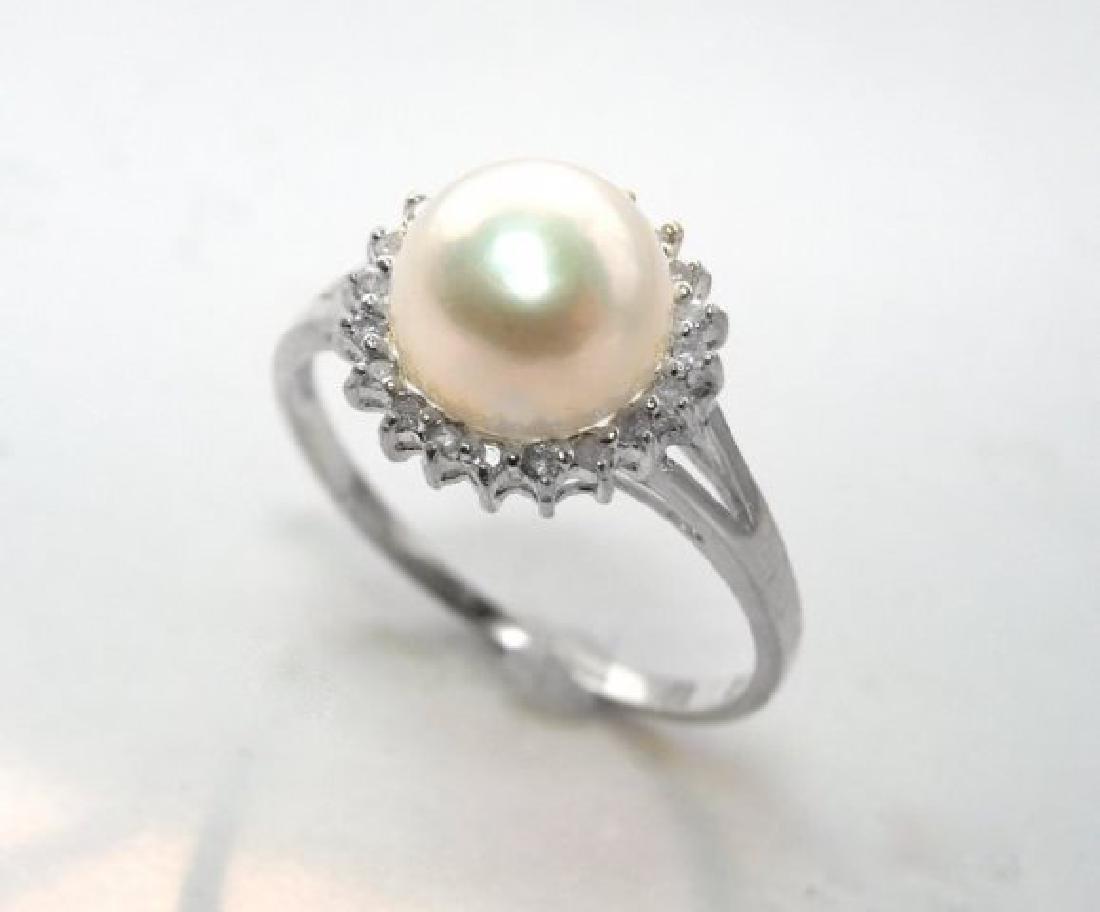 Akoya Pearl: 8mm/Diamond.10Ct Ring14k W/G