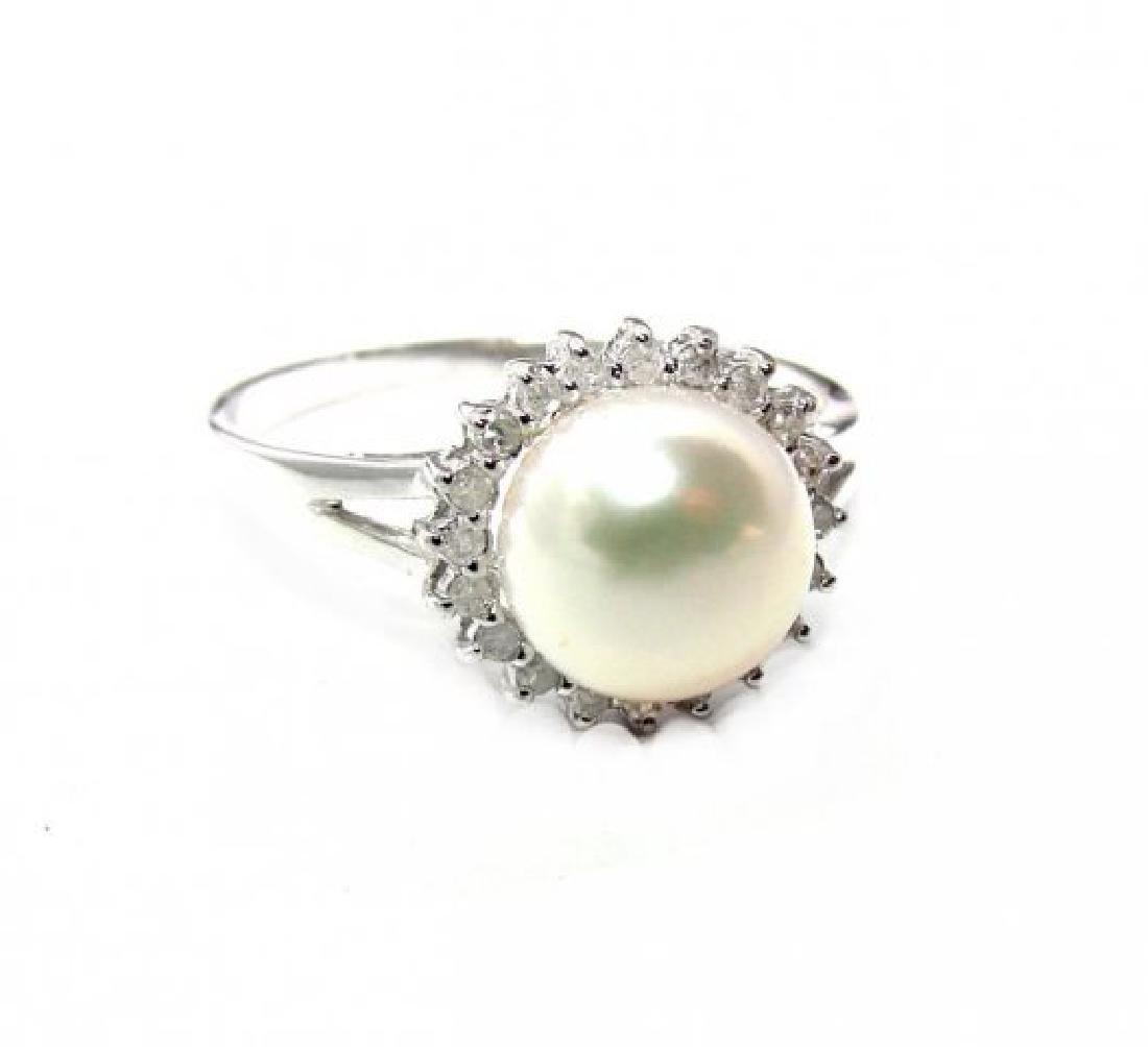 Akoya Pearl: 8mm/Diamond.10Ct Ring14k W/G - 2