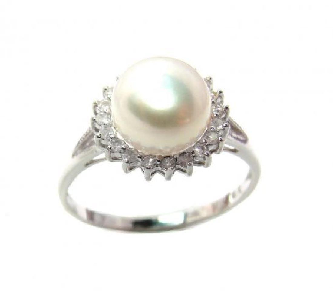 Akoya Pearl: 8mm/Diamond.10Ct Ring14k W/G - 3