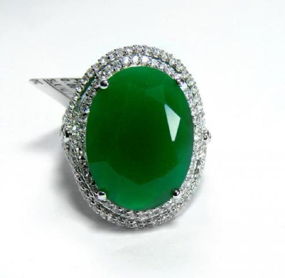 Creation Diamond/ Green Onyx 18. Carat 18k W/G Over