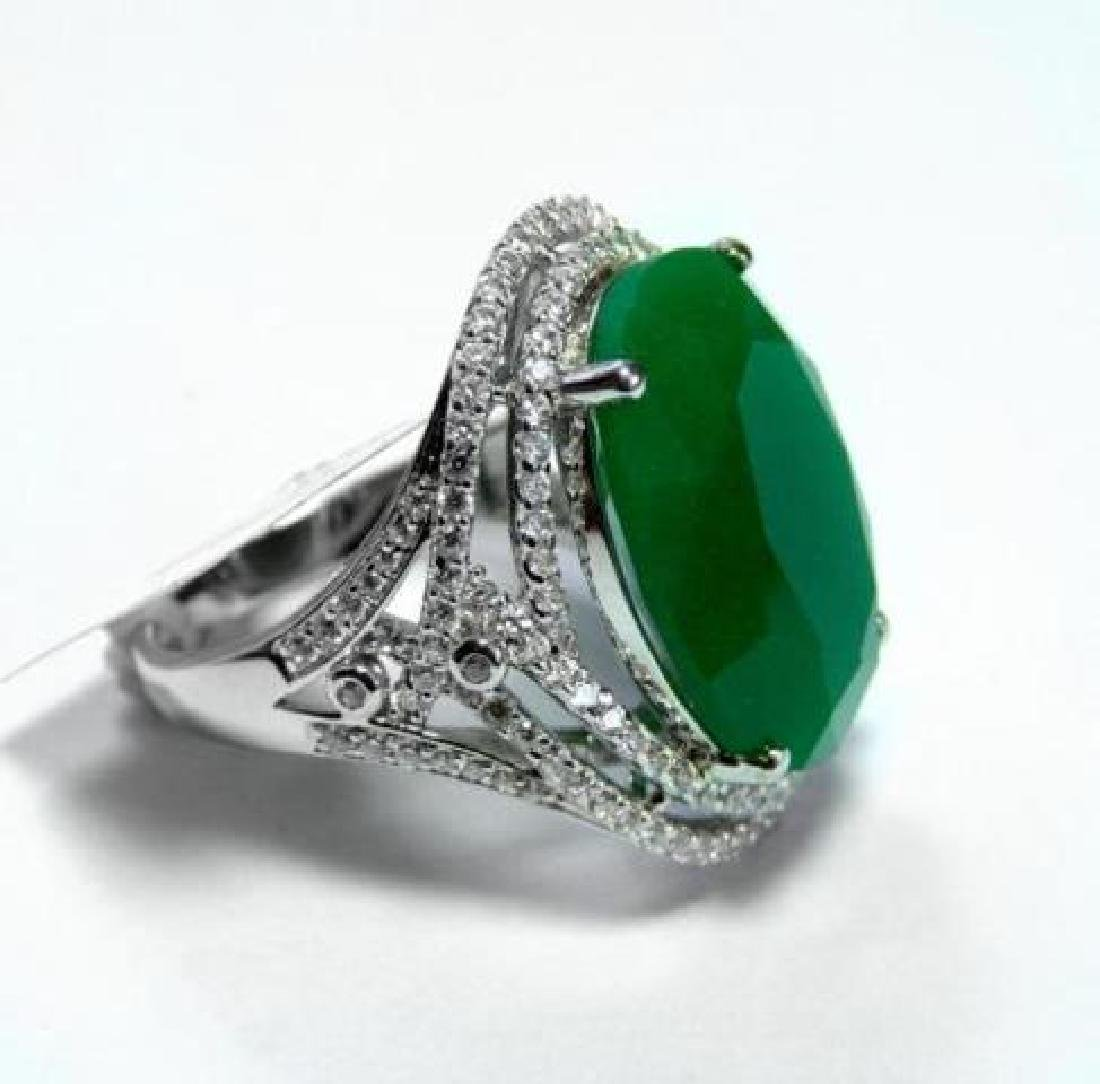 Creation Diamond/ Green Onyx 18. Carat 18k W/G Over - 2