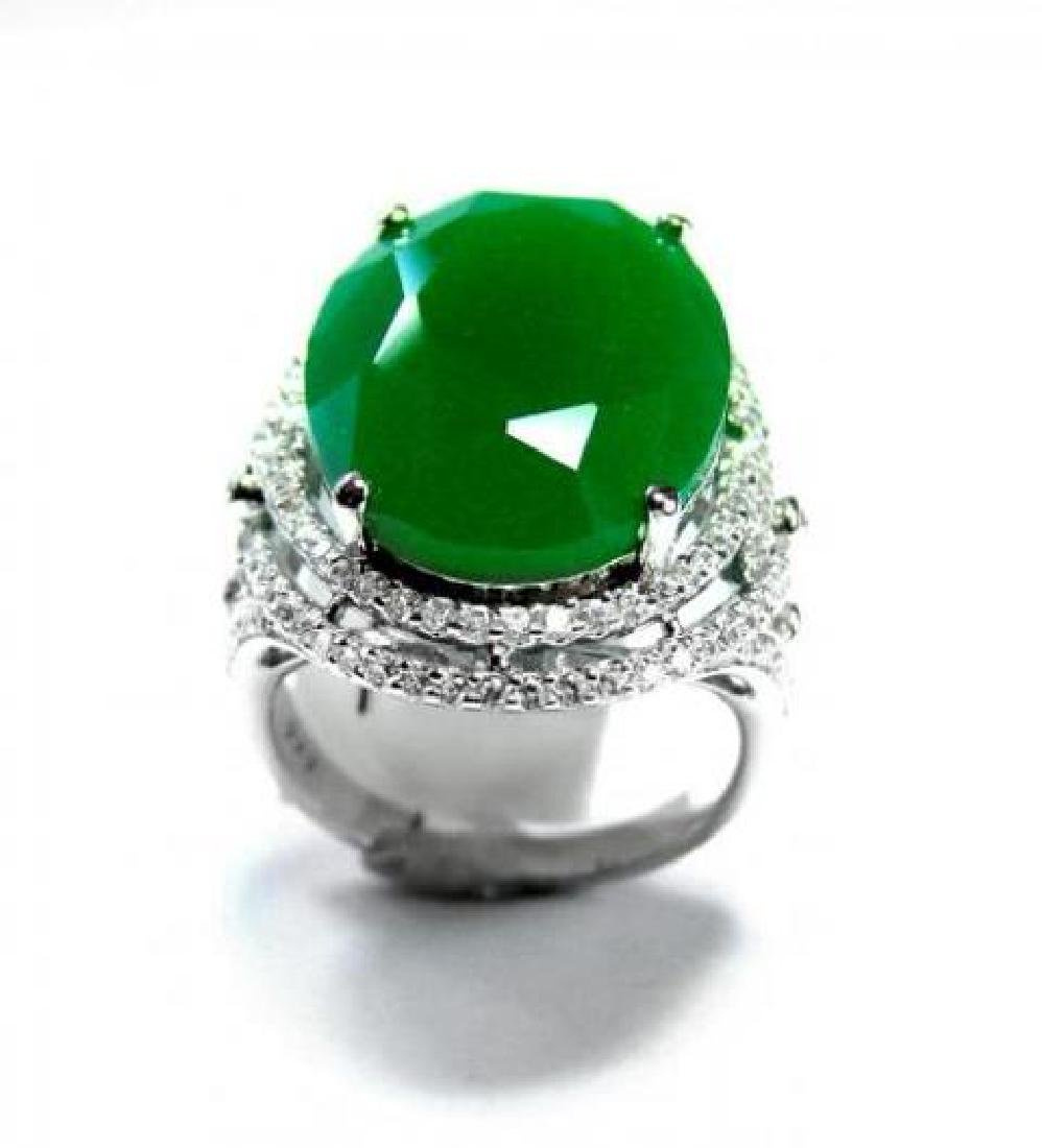 Creation Diamond/ Green Onyx 18. Carat 18k W/G Over - 3