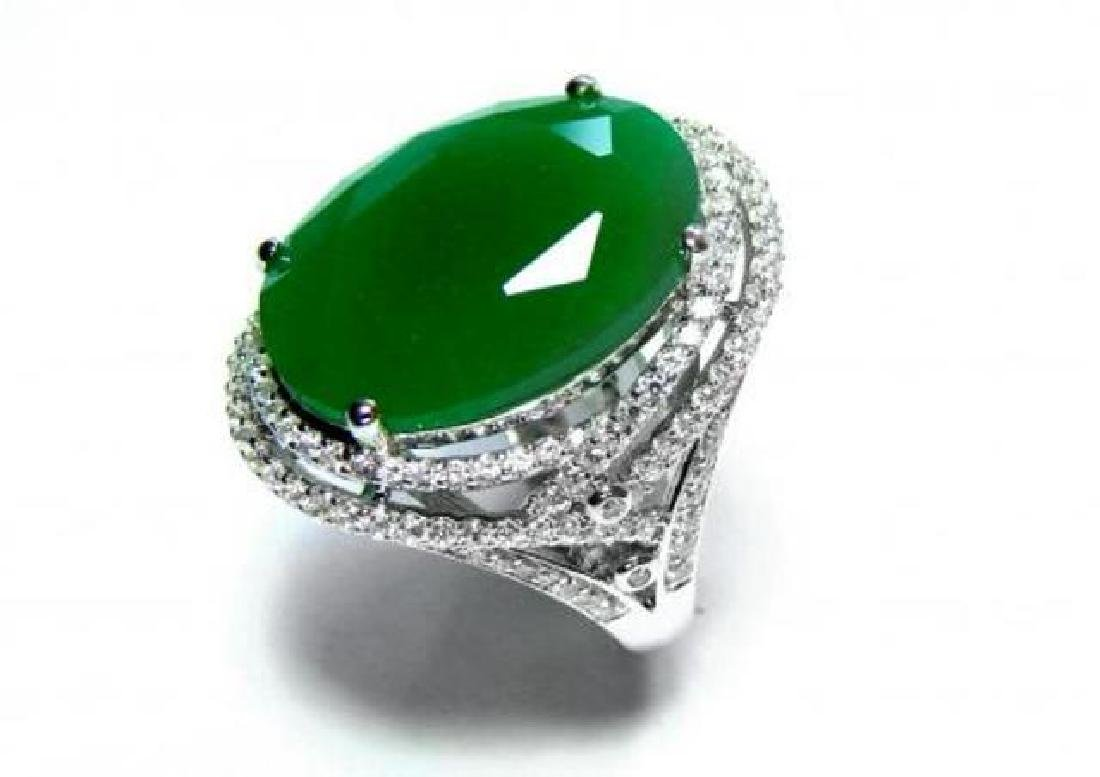 Creation Diamond/ Green Onyx 18. Carat 18k W/G Over - 4