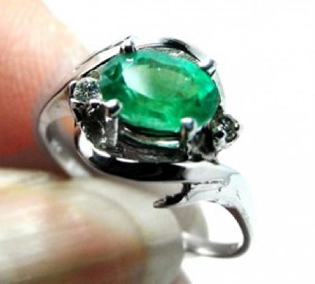 Anniversary Emerald Diamond Ring 1.27Ct 14k W/g - 2