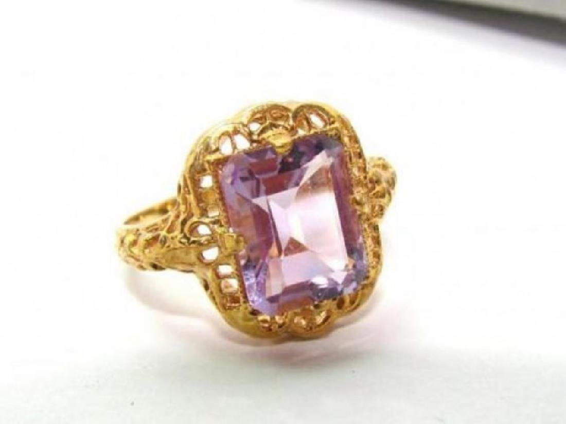Amethyst Antique Ring 3.47CT 14k Yellow Gold - 2