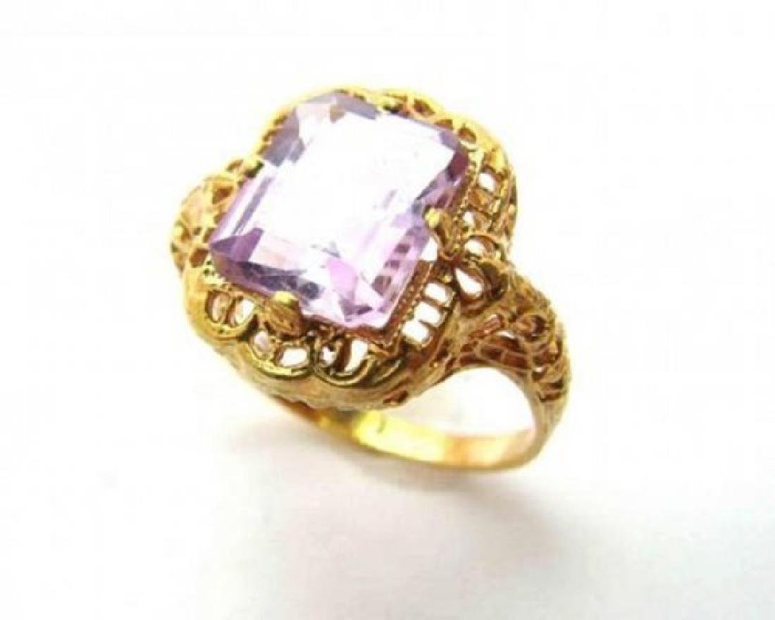 Amethyst Antique Ring 3.47CT 14k Yellow Gold - 3