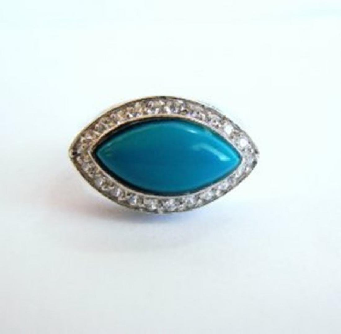 Creation Diamond Turquoise Ring 4.60Ct 18k W/g Overlay