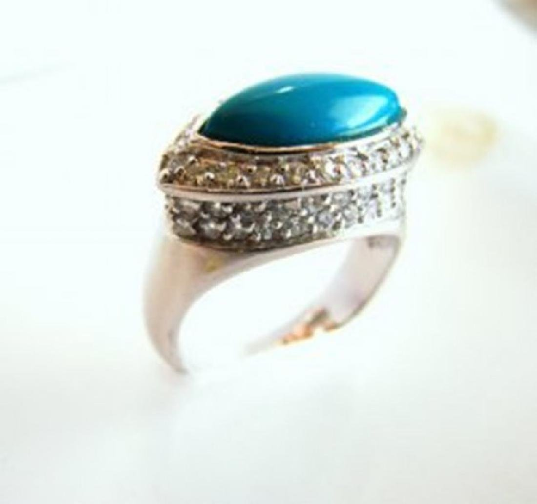 Creation Diamond Turquoise Ring 4.60Ct 18k W/g Overlay - 2