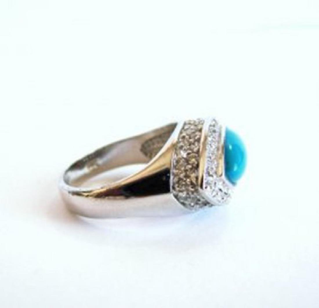 Creation Diamond Turquoise Ring 4.60Ct 18k W/g Overlay - 3