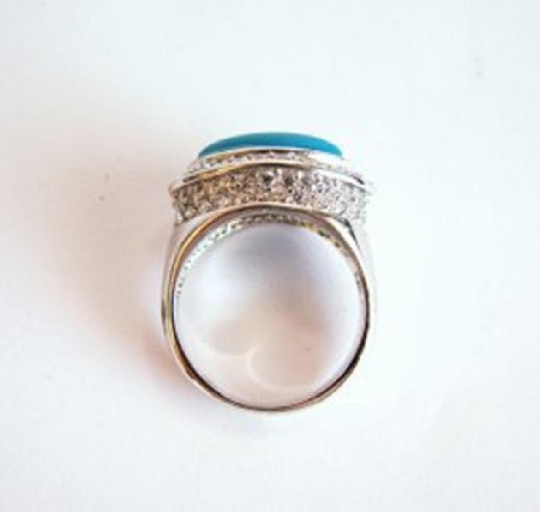 Creation Diamond Turquoise Ring 4.60Ct 18k W/g Overlay - 4