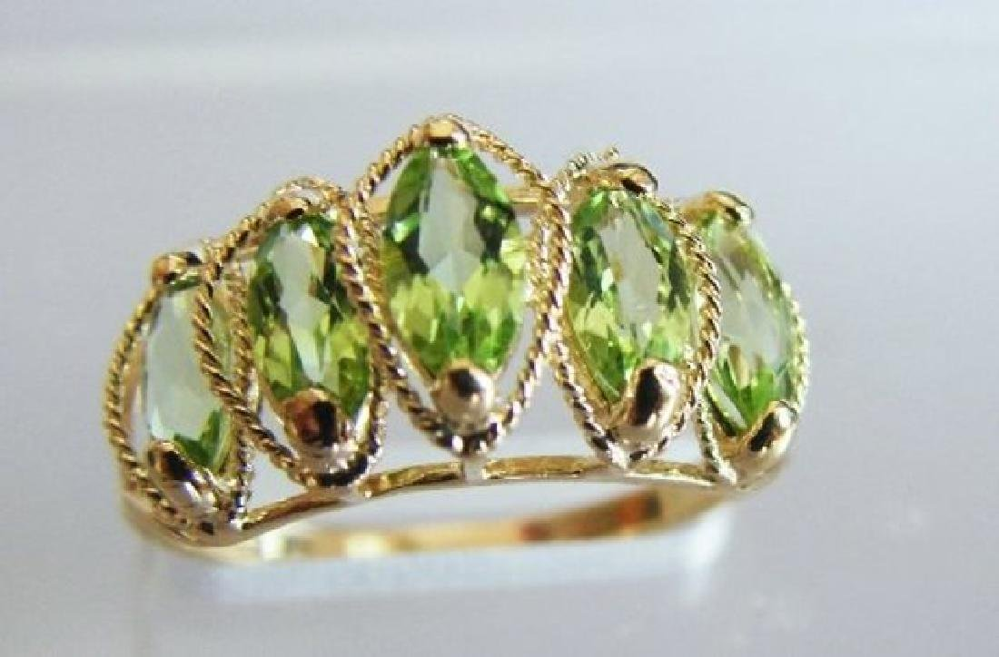 Marquise Peridot Ring 2.48 Carat 14k Yellow Gold