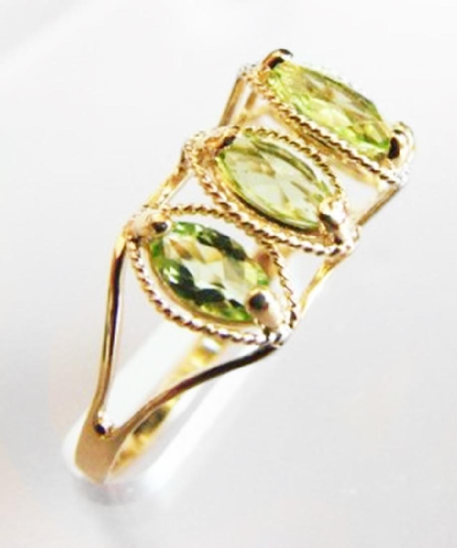 Marquise Peridot Ring 2.48 Carat 14k Yellow Gold - 2